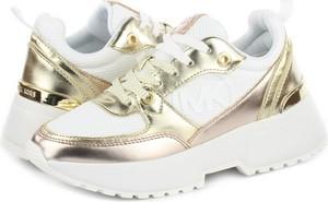 Złote buty sportowe Michael Kors na platformie sznurowane