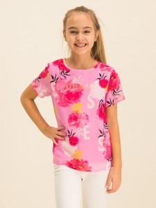 Różowa koszulka dziecięca Guess w kwiatki z krótkim rękawem