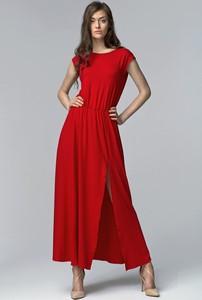 Czerwona sukienka Nife z okrągłym dekoltem maxi
