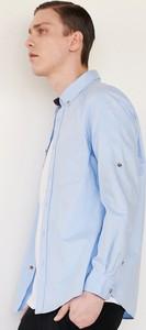 Niebieska koszula Reserved z kołnierzykiem button down z długim rękawem