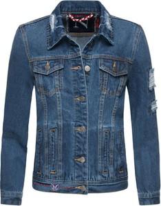 Niebieska kurtka Navahoo w stylu casual krótka z jeansu