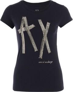 Czarny t-shirt Armani Jeans z okrągłym dekoltem w młodzieżowym stylu z krótkim rękawem