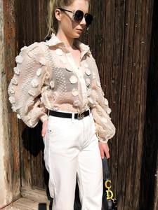 Beżowe koszule damskie z bawełny, kolekcja lato 2020  SOb0t