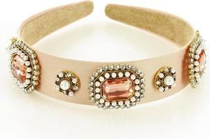 Gk-Style Biżuteryjna opaska na włosy diadem tiara pudrowy róż MAZZINI