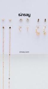 Sinsay - Zestaw 6 par kolczyków - Złoty