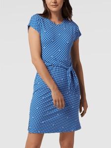 Niebieska sukienka Ralph Lauren z okrągłym dekoltem z krótkim rękawem mini