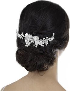 Iloko OZDOBA do włosów ŚLUBNA cyrkonie PERŁY kwiaty