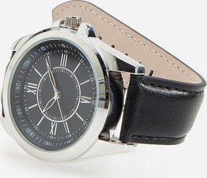 Reserved - Zegarek na skórzanym pasku - Czarny