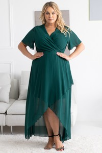 Zielona sukienka KARKO maxi z krótkim rękawem z tkaniny