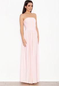 Różowa sukienka Katrus bez rękawów maxi gorsetowa