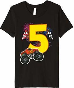 Koszulka dziecięca Cloth.ly Monster Truck Shirts 5. Bday z krótkim rękawem