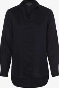 Czarna bluzka Franco Callegari z dekoltem w kształcie litery v z lnu z długim rękawem