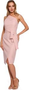Różowa sukienka MOE bez rękawów z dekoltem w kształcie litery v midi