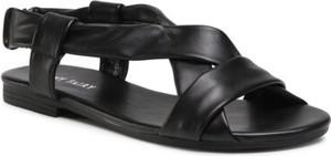 Czarne sandały Jenny Fairy z płaską podeszwą w stylu casual