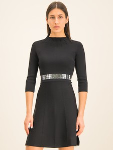 Czarna sukienka Pinko mini z długim rękawem