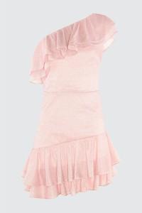 Różowa sukienka Trendyol mini z okrągłym dekoltem z krótkim rękawem