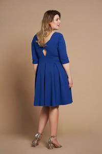 Niebieska sukienka By 20inlove midi z dekoltem na plecach dla puszystych