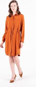 Pomarańczowa sukienka MEXX z długim rękawem koszulowa mini