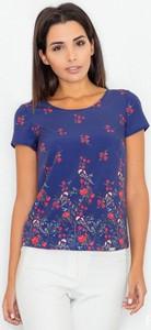 Niebieska bluzka Figl z okrągłym dekoltem z krótkim rękawem