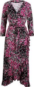 Sukienka bonprix bpc bonprix collection z długim rękawem z dekoltem w kształcie litery v