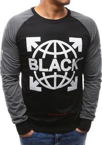 Dstreet bluza męska z nadrukiem czarna (bx3451)