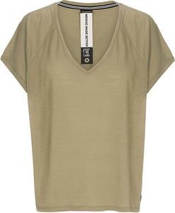 Zielony t-shirt super.natural z krótkim rękawem z dekoltem w kształcie litery v