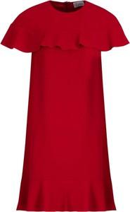 Czerwona sukienka Red Valentino z krótkim rękawem rozkloszowana w stylu casual