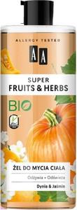 AA, Super Fruits & Herbs, żel do mycia ciała odżywczo-odświeżający, Dynia i Jaśmin, 500 ml