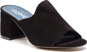 Czarne klapki Ann-Mex w stylu casual z zamszu