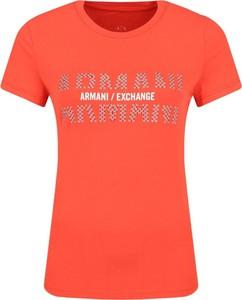 Czerwony t-shirt Armani Jeans z okrągłym dekoltem z krótkim rękawem