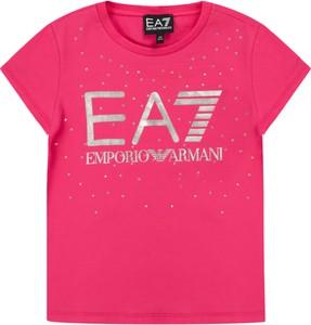 Różowa koszulka dziecięca Emporio Armani z krótkim rękawem