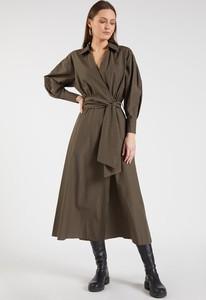 Brązowa sukienka Monnari midi z długim rękawem w stylu casual