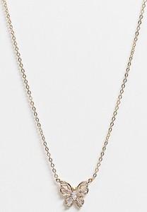 ASOS DESIGN – Naszyjnik pozłacany 14-karatowym złotem z zawieszką w kształcie motyla z kryształami-Złoty