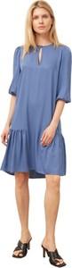 Niebieska sukienka ECHO z długim rękawem w stylu casual mini