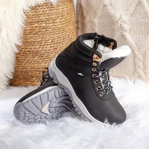 Czarne buty dziecięce zimowe Royalfashion.pl sznurowane dla chłopców