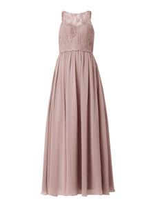Różowa sukienka Mascara bez rękawów maxi z szyfonu