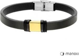 Manoki BA695G czarna bransoletka ze złotym elementem