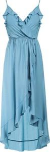 Niebieska sukienka Multu z dekoltem w kształcie litery v