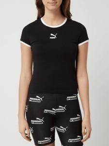 Czarny t-shirt Puma z krótkim rękawem z okrągłym dekoltem