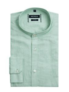 Zielona koszula McNeal z klasycznym kołnierzykiem z długim rękawem z lnu