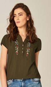 Mohito - koszula z kwiatowym motywem - khaki