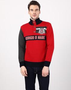 Czerwony sweter Giorgio Di Mare ze stójką