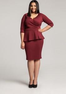 Czerwona sukienka By 20inlove z dekoltem w kształcie litery v dla puszystych z długim rękawem