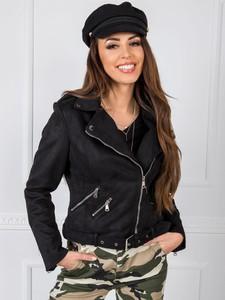 Czarna kurtka Factory Price z zamszu w stylu casual krótka
