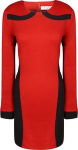 Czerwona tunika Fokus z długim rękawem w stylu casual