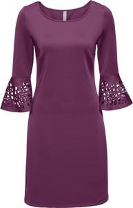 Fioletowa sukienka bonprix BODYFLIRT boutique trapezowa