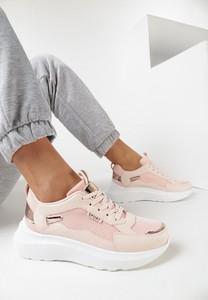 Różowe buty sportowe born2be z zamszu sznurowane z płaską podeszwą