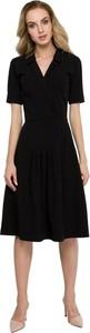 Czarna sukienka Style midi z krótkim rękawem z tkaniny