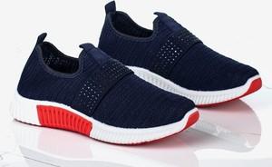 Granatowe buty sportowe Royalfashion.pl z płaską podeszwą