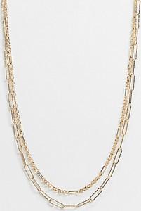 Reclaimed Vintage Inspired – Dwurzędowy naszyjnik z łańcuszków w kolorze złotym
